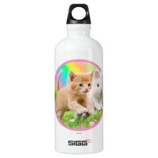 Kitten & Bunny with Rainbow Water Bottle