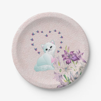 Kitten, Butterflies and Flowers on Pink Paper Plate
