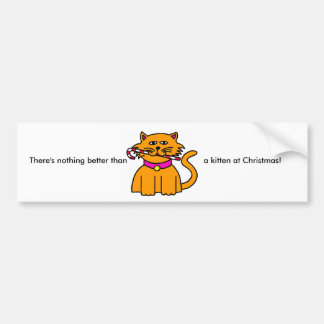 Kitten Candy Cane Bumper Sticker