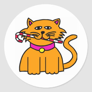 Kitten Candy Cane Classic Round Sticker