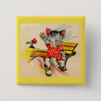 kitten cat student 2 inch square button