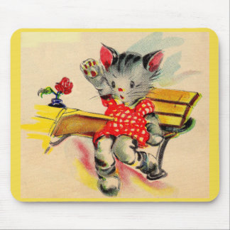 kitten cat student mouse pad