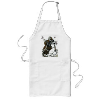 Kitten Catching Snowflakes  Block Print in color Long Apron