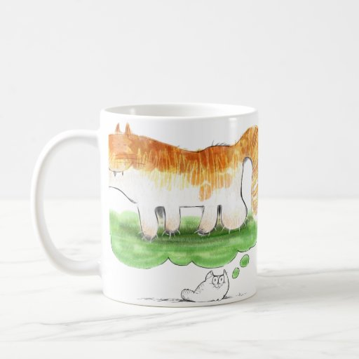 Kitten dreams of being a tiger classic white coffee mug