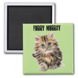 Kitten Furry Murray So Cute and Hairy Square Magnet