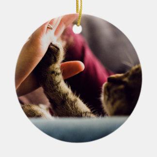 Kitten high-five ceramic ornament