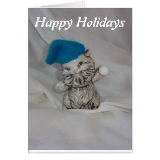 kitten holiday christmas winter card cats snowball