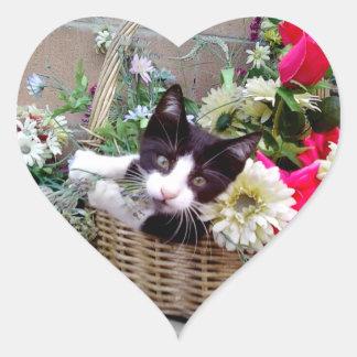 Kitten in a Basket Heart Sticker