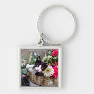 Kitten in a Basket Keychain