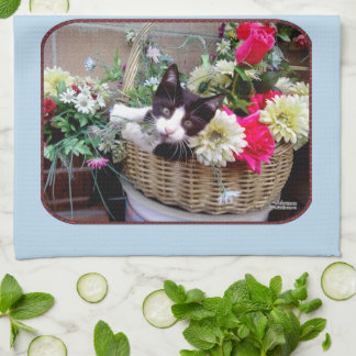 Kitten in a Basket Kitchen Towel