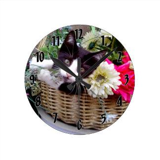 Kitten in a Basket Round Clock