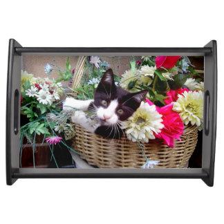 Kitten in a Basket Serving Tray