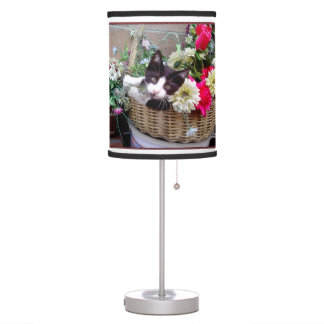 Kitten in a Basket Table Lamp