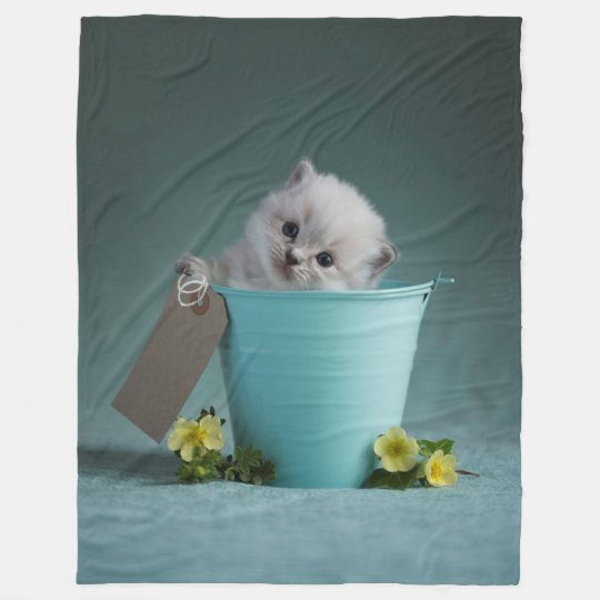 Kitten in a Bucket Fleece Blanket