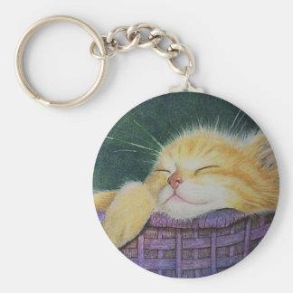 Kitten in a purple Basket Keychain