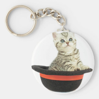 Kitten in black hat basic round button keychain
