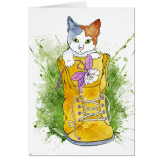 Kitten in Hiking Boot Card