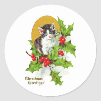 Kitten in Holly Vintage Christmas Stickers