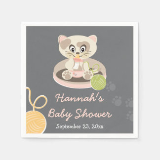 Kitten in Pink Diapers Baby Shower Paper Napkin