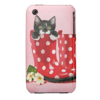 Kitten in polka dot rainboots Case-Mate iPhone 3 case