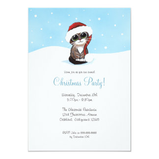 Kitten in Snow | Christmas Party Invitations