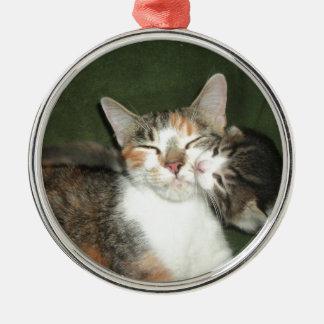 Kitten Kiss Metal Ornament