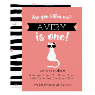 Kitten Me First Birthday Invitation