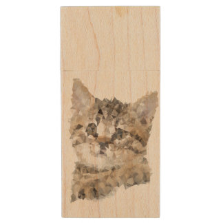 Kitten Mimi Tabby cat Maple, 8gb, Rectangle Wood USB Flash Drive