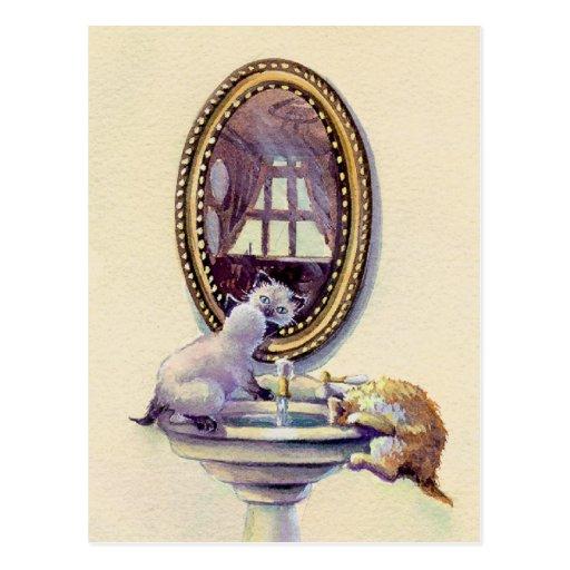 KITTEN MIRROR by SHARON SHARPE Postcards