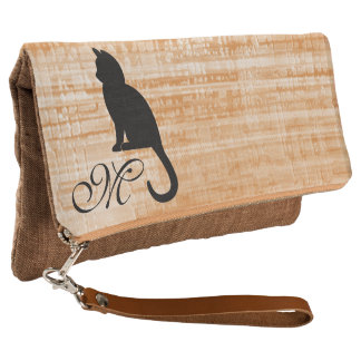 Kitten Monogram Cinnamon Fold Over Clutch