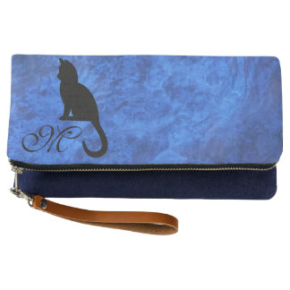 Kitten Monogram Sapphire Blue Fold Over Clutch