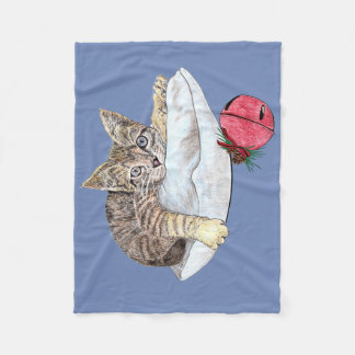 Kitten On Pillow Fleece Blanket