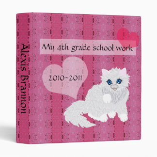Kitten on pink, schoolwork keepsakes binder