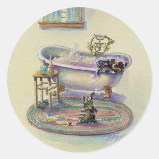 KITTEN on the TUB by SHARON SHARPE Classic Round Sticker