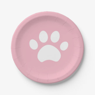 Kitten Paw Print 4 a Purrfect Day Paper Plate