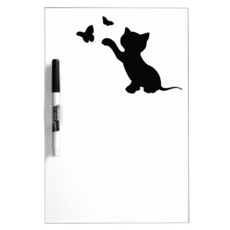 KITTEN PLAYING WITH BUTTERFLIES DRY ERASE BOARD