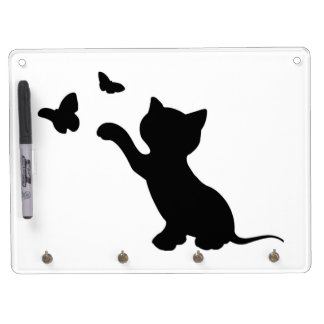 KITTEN PLAYING WITH BUTTERFLIES DRY ERASE BOARD WITH KEYCHAIN HOLDER