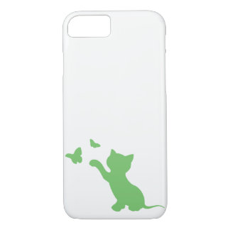 Kitten Playing with Butterflies Phone Case