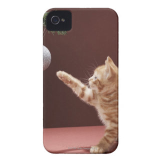 Kitten playing with Christmas bauble on tree iPhone 4 Case-Mate Case