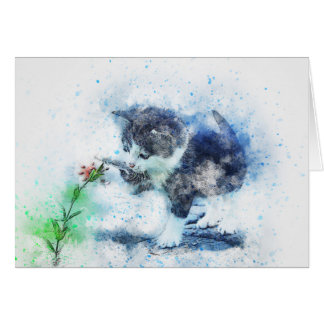 Kitten Playing with Flower | Abstract | Watercolor Card