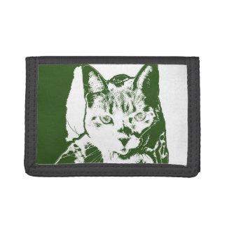 kitten posterized green white cat feline design trifold wallet