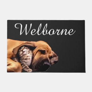 Kitten Puppy Bloodhound Dog Cat Best Friends Love Doormat