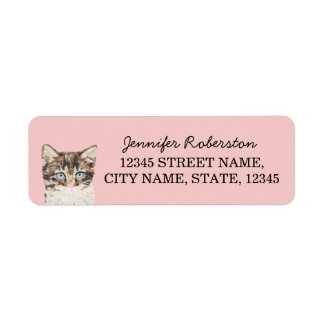 Kitten Return Address Labels - Pink Girly Cat