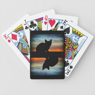 Kitten Silhouette Against Sunset Sky Bicycle Playing Cards