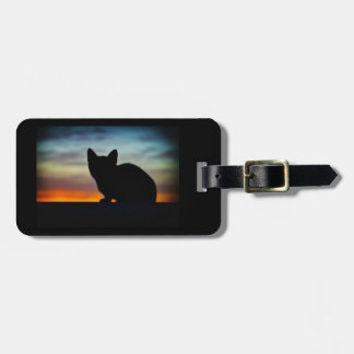 Kitten Silhouette Sunset Sky Luggage Luggage Tag
