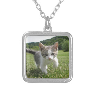 kitten silver plated necklace