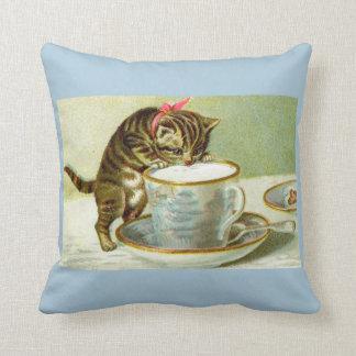 Kitten sipping Tea Accent Pillow