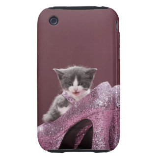 Kitten sitting in glitter shoes iPhone 3 tough cases