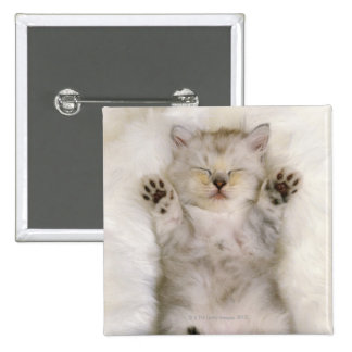 Kitten Sleeping on a White Fluffy Carpet, High Pinback Buttons