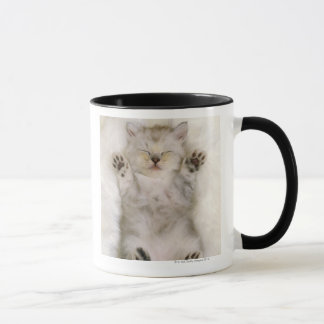 Kitten Sleeping on a White Fluffy Carpet, High Mug